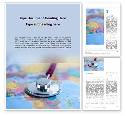 Medical: Stethoscope on Africa Map Word Template #15610