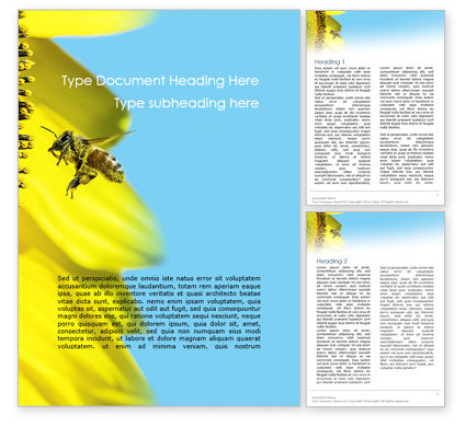 Nature & Environment: Bee Flies to Sunflower Word Template #15611