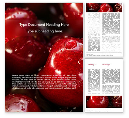 Food & Beverage: Wet Cherry Closeup Word Template #15612