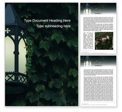 General: Lantern on Ivy Covered Wall Word Template #15620
