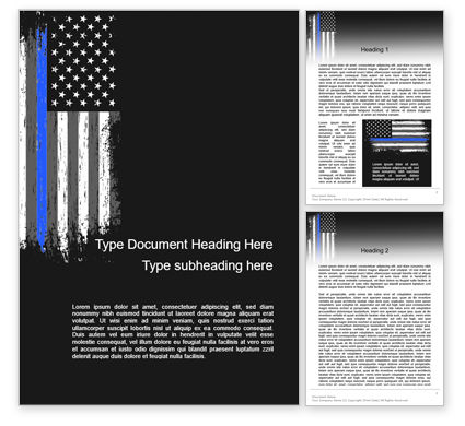 Military: Thin Blue Line American Flag Word Template #15621
