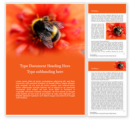 Nature & Environment: Bumblebee on Flower Word Template #15633