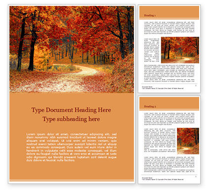Nature & Environment: Beautiful Autumn Forest Word Template #15660
