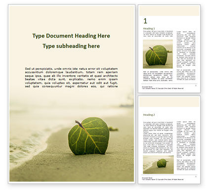 Nature & Environment: Leaf in Sand on the Beach Word Template #15672
