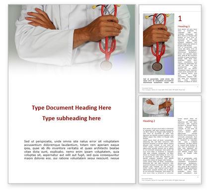 Medical: 手に聴診器を持つ医師 - Wordテンプレート #15683