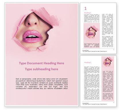 People: Die lippen der frau in heftigem papierloch Word Vorlage #15690