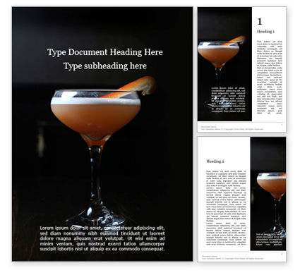 Food & Beverage: Cocktail with Orange Word Template #15699