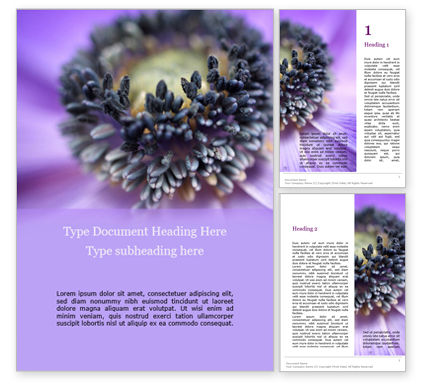 Nature & Environment: Purple Anemone Word Templates #15700
