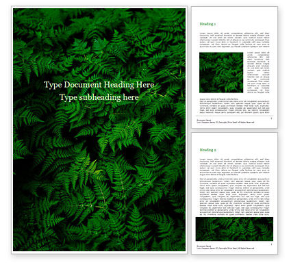Nature & Environment: Fern Leaves Word Template #15703