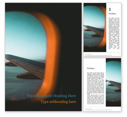 Cars/Transportation: View of Plane Wing Through Porthole Word Template #15710