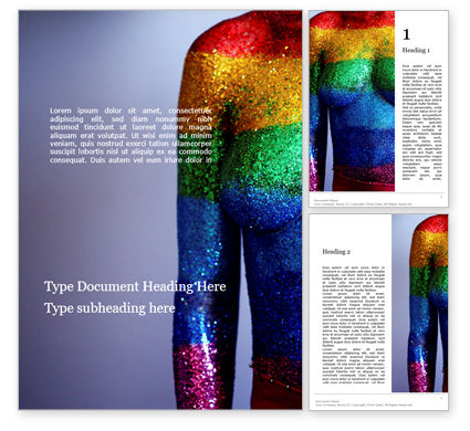 People: Woman Body in Colored Glitter Word Template #15712