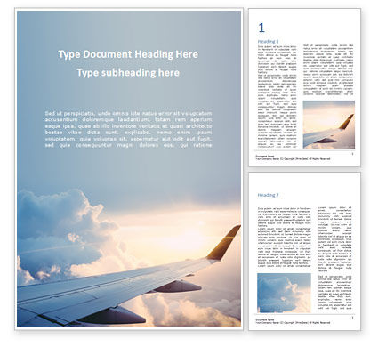 Cars/Transportation: Airplane Flying Word Template #15717