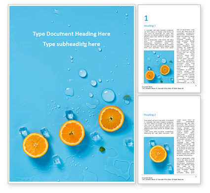 Food & Beverage: Summer Background with Oranges Word Template #15722