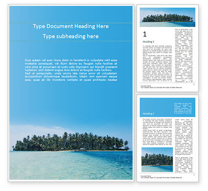 Nature & Environment: Beautiful Beach with Palm Trees Word Template #15724