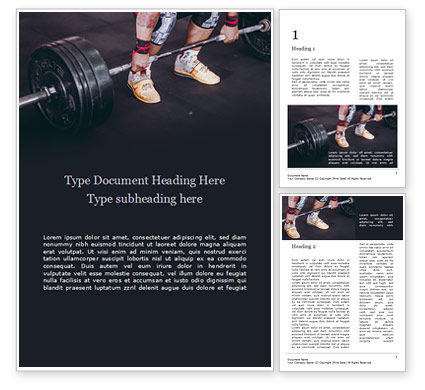 People: Closeup Portrait of Professional Bodybuilder Workout with Barbell Word Template #15730