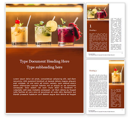 Food & Beverage: Three Tropical Cocktails Word Template #15733