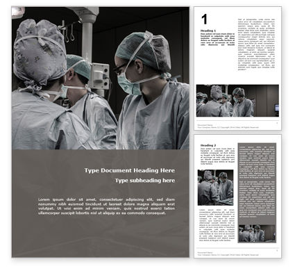 Medical: A Medical Team are Undergoing Surgery to Cure Patient Word Template #15739