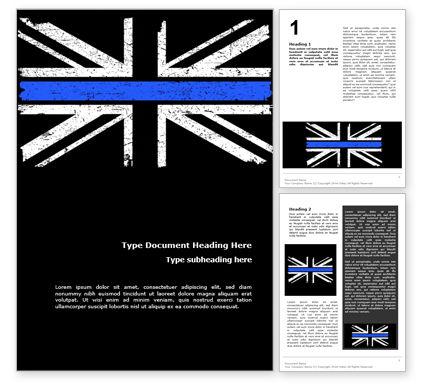 Military: Dünne blaue linie britische flagge Kostenlose Word Vorlage #15740