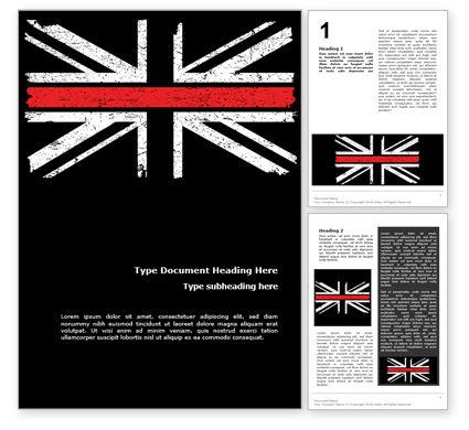 Military: Dünne rote linie britische flagge Kostenlose Word Vorlage #15741