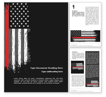 Military: Thin Red Line USA Flag Word Template #15742