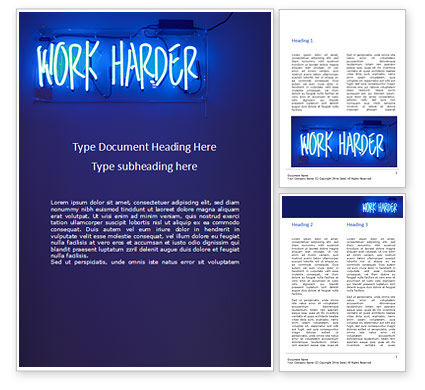 Education & Training: Werk Harder Gratis Word Template #15746