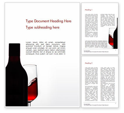 Food & Beverage: Bottle of Red Wine and Half Full Glass on White Background Word Template #15747