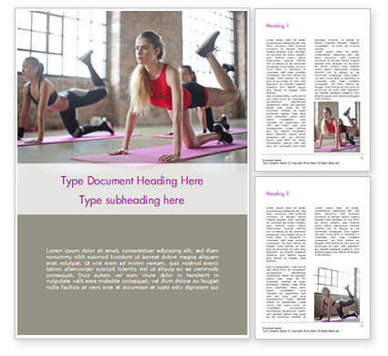 Sports: Beautiful Fitness Girls Doing Exercise Word Template #15755
