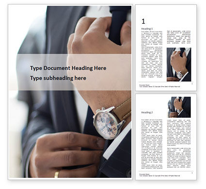 Business: A Businessman Straightens His Tie Word Template #15756