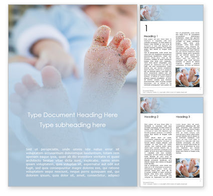 People: Closeup View of Baby's Toes on Bare Feet Word Template #15761