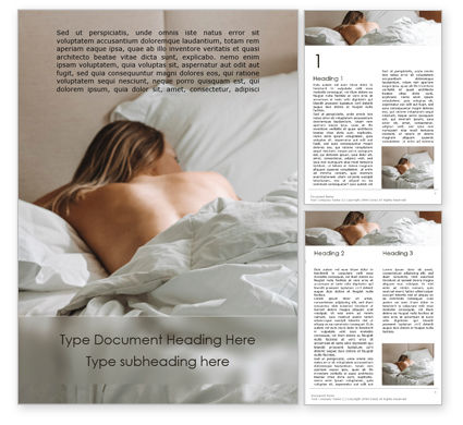 People: Back View of Young Naked Woman Sleeping in Bed Word Template #15770