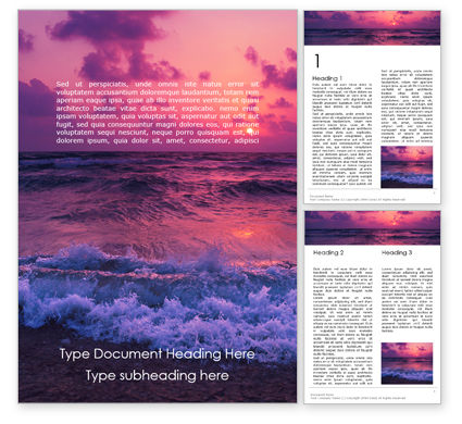 Nature & Environment: Mysterious Colorful Sea Sunset Word Template #15771