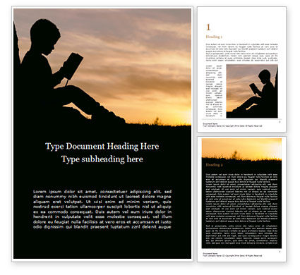 Education & Training: Silhouette of Little Boy Reading the Book Word Template #15775