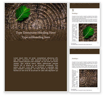 Nature & Environment: Green Leaf on a Tree Stump Word Template #15779