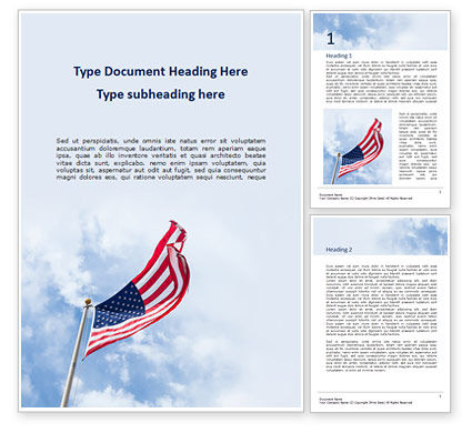 Flags/International: American Flag Waving on Flagpole Word Template #15780