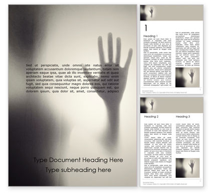 People: Horror Hand Behind the Matte Glass in Black and White Colors Word Template #15795
