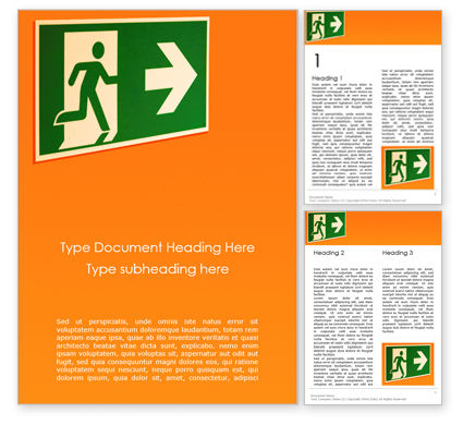 Careers/Industry: Emergency Exit Sign on Orange Background Word Template #15796