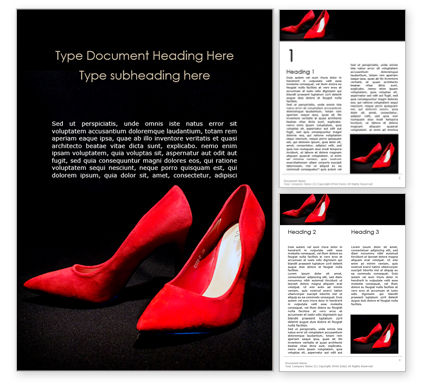 Careers/Industry: Red High Heel Women Shoes Word Template #15798