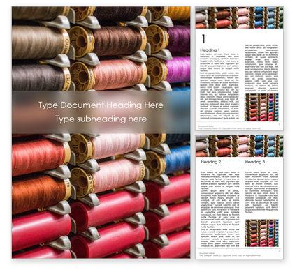 Careers/Industry: Plantilla de Word gratis - carretes de hilos multicolores #15802