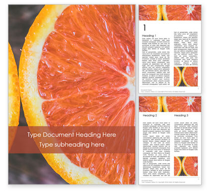 Food & Beverage: Two Sliced Citrus Fruits Word Template #15805