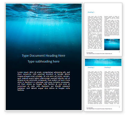 Nature & Environment: Underwater Lights Word Template #15806