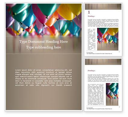 Holiday/Special Occasion: Assorted-Color Balloons Word Template #15807