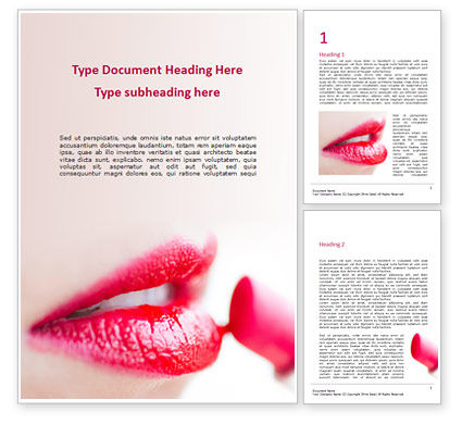 Careers/Industry: Closeup of Beautiful Woman Lips with Red Lipstick Word Template #15808