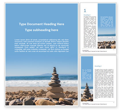 Religious/Spiritual: Folded Pyramid of Smooth Stones on the Seashore Word Template #15810