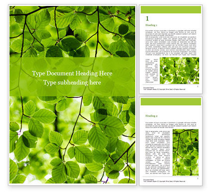 Nature & Environment: Green Tree Leaves in Sunlight Word Template #15812