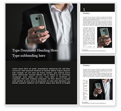 People: A Businessman Holding Phone Word Template #15813
