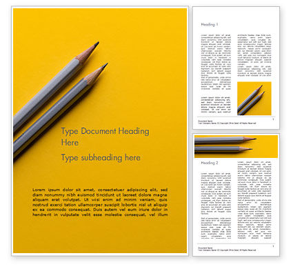 Business Concepts: Two Gray Pencils on Yellow Paper Word Template #15814