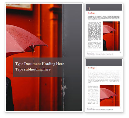 People: A Person Under Red Umbrella Word Template #15815