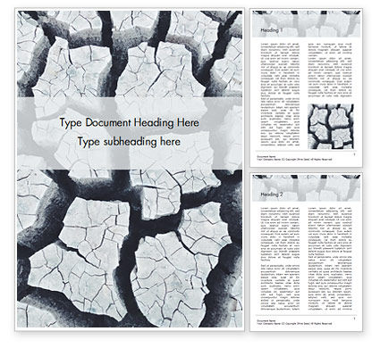 Nature & Environment: Deep Cracks in the Gray Land Word Template #15817