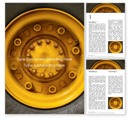Cars/Transportation: Closeup Photo of Yellow Vehicle Wheel with Tire Word Template #15822