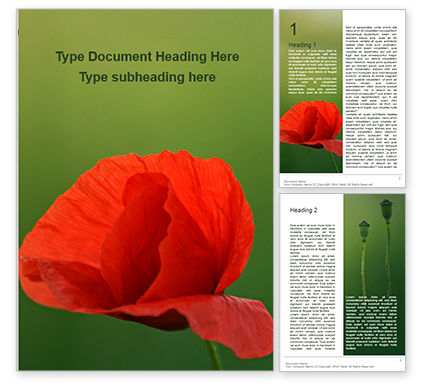 Nature & Environment: Amazing Red Poppy Word Template #15825